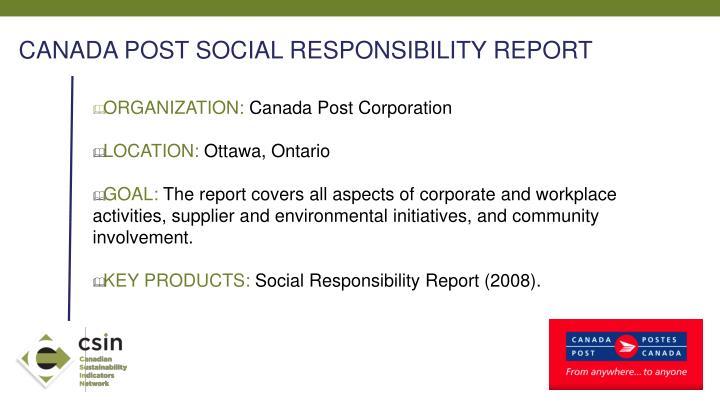 CANADA POST SOCIAL RESPONSIBILITY REPORT