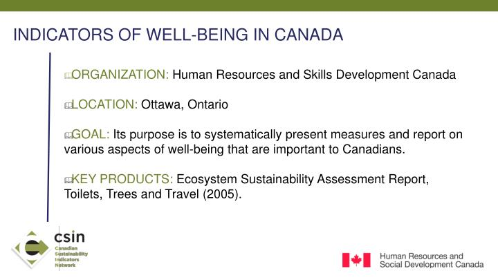INDICATORS OF WELL-BEING IN CANADA