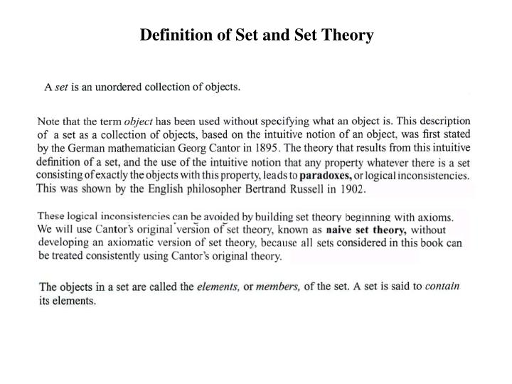 Definition of Set and Set Theory