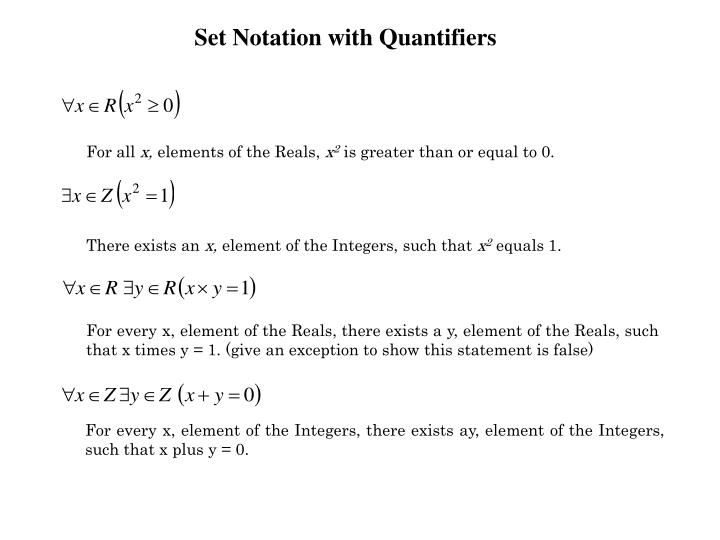 Set Notation with Quantifiers