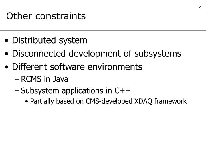 Other constraints
