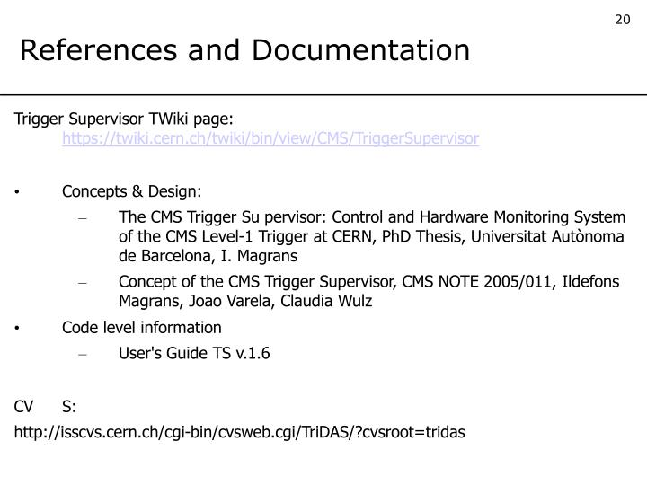 References and Documentation