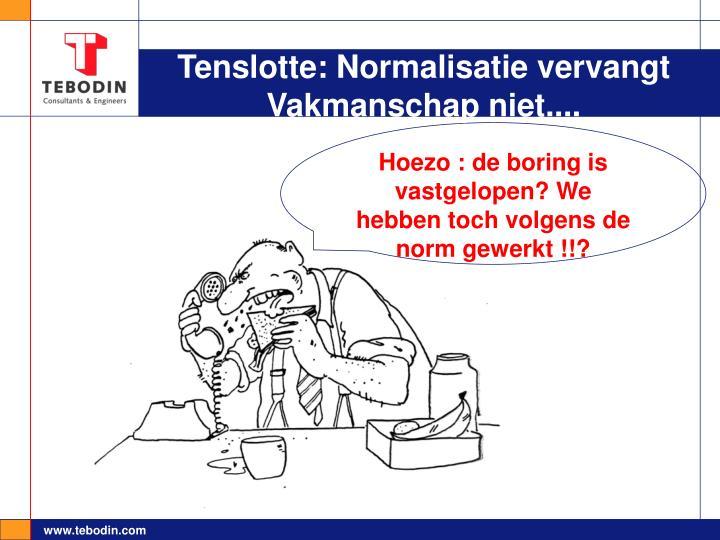 Tenslotte: Normalisatie vervangt Vakmanschap niet....