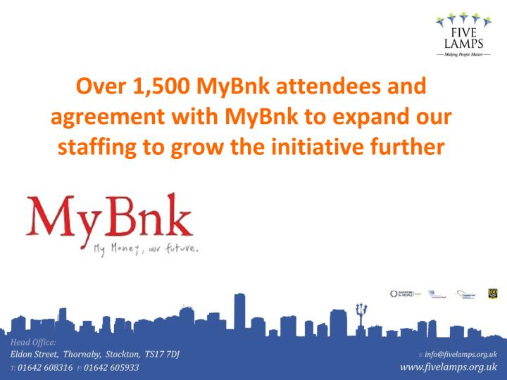 Over 1,500 MyBnk attendees and agreement with MyBnk to expand our staffing to grow the initiative further