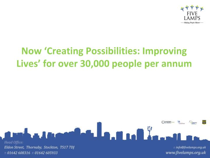 Now 'Creating Possibilities: Improving Lives' for over 30,000 people per annum