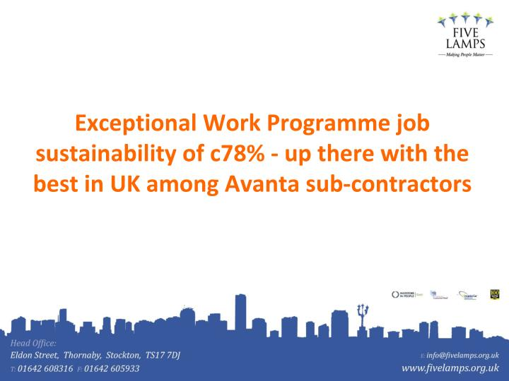 Exceptional Work Programme job sustainability of c78% - up there with the best in UK among Avanta sub-contractors