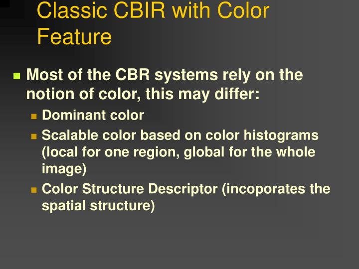 Classic CBIR with Color Feature