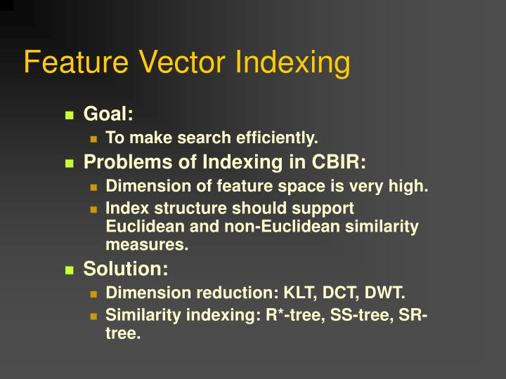 Feature Vector Indexing