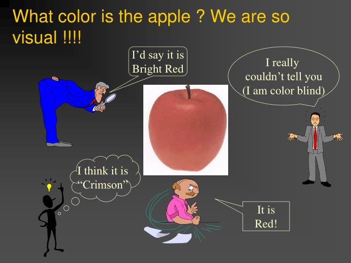 What color is the apple ? We are so visual !!!!