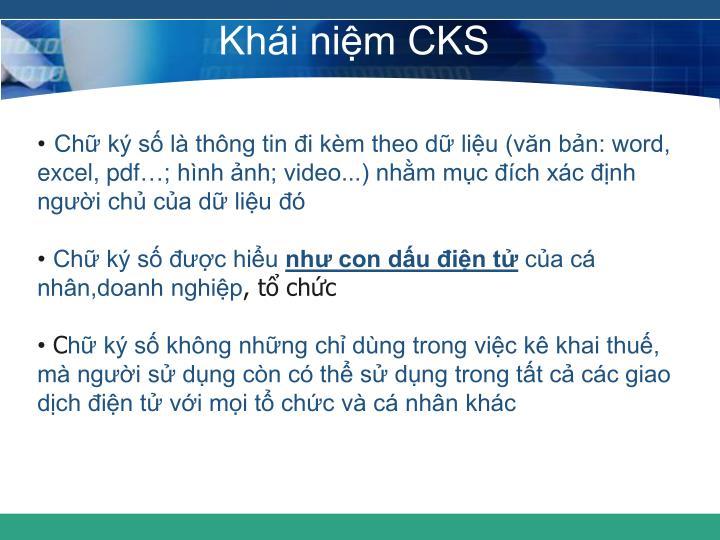 Khái niệm CKS