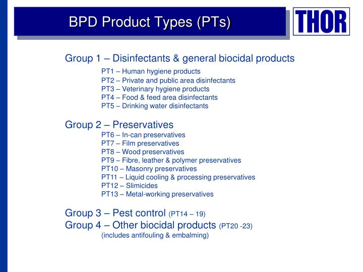 BPD Product Types (PTs)