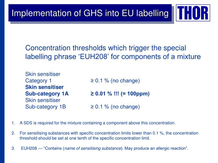 Implementation of GHS into EU labelling
