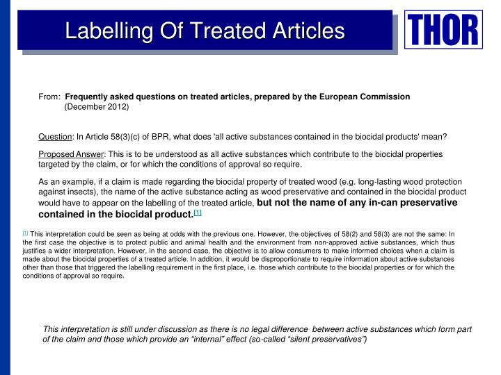 Labelling Of Treated Articles