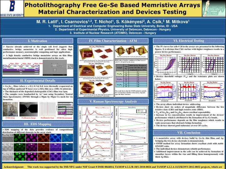 Photolithography Free Ge-Se Based Memristive Arrays Material Characterization and Devices Testing
