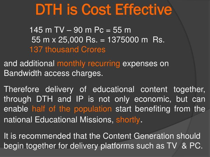 DTH is Cost Effective