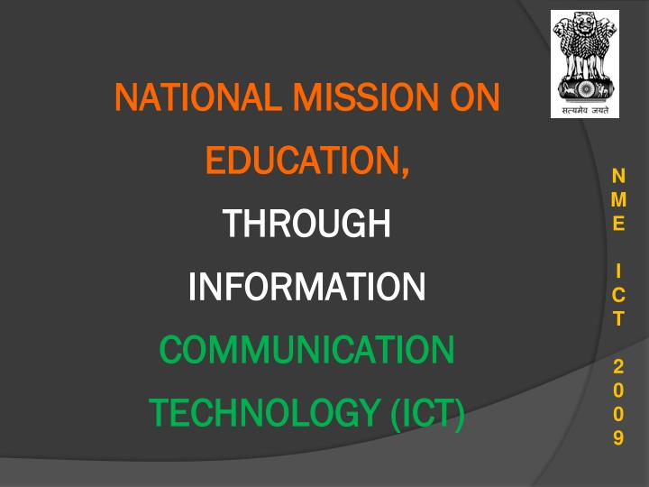 NATIONAL MISSION ON EDUCATION,