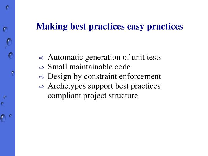 Making best practices easy practices