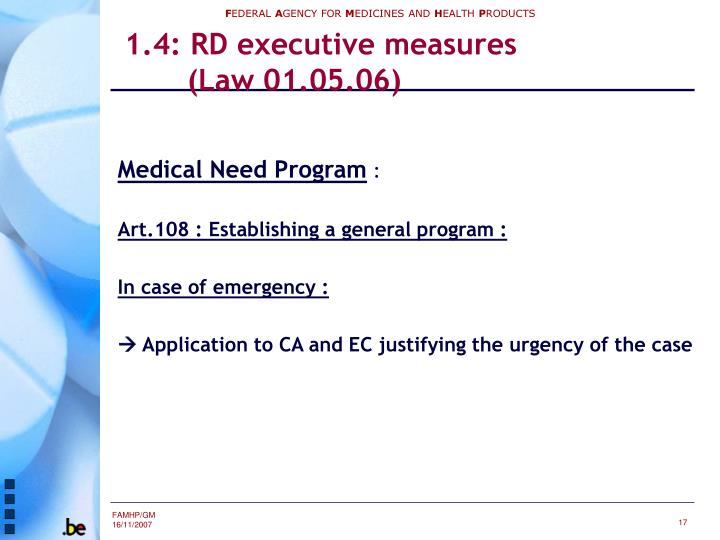 1.4: RD executive measures