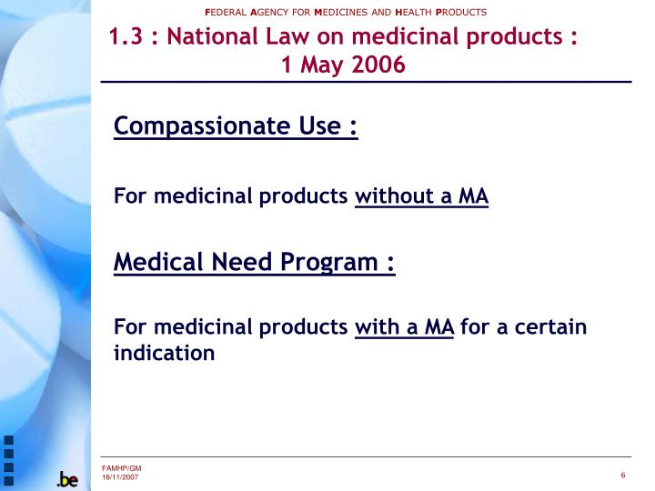 1.3 : National Law on medicinal products :