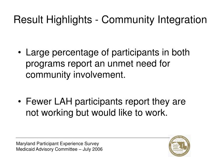 Result Highlights - Community Integration