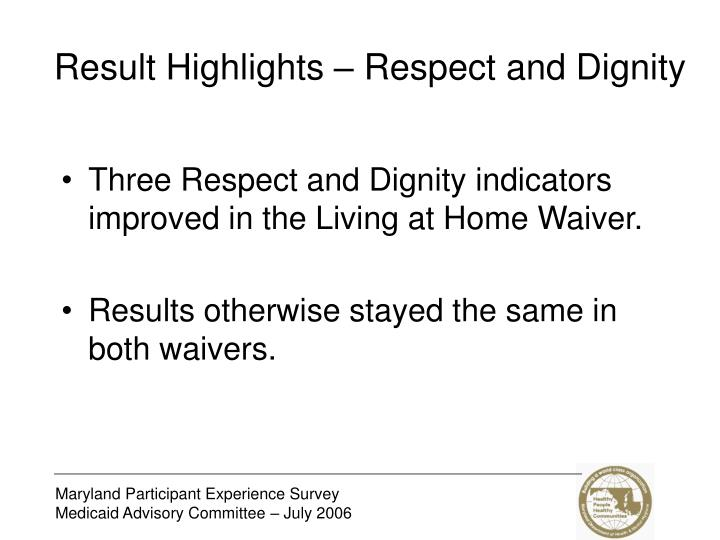 Result Highlights – Respect and Dignity