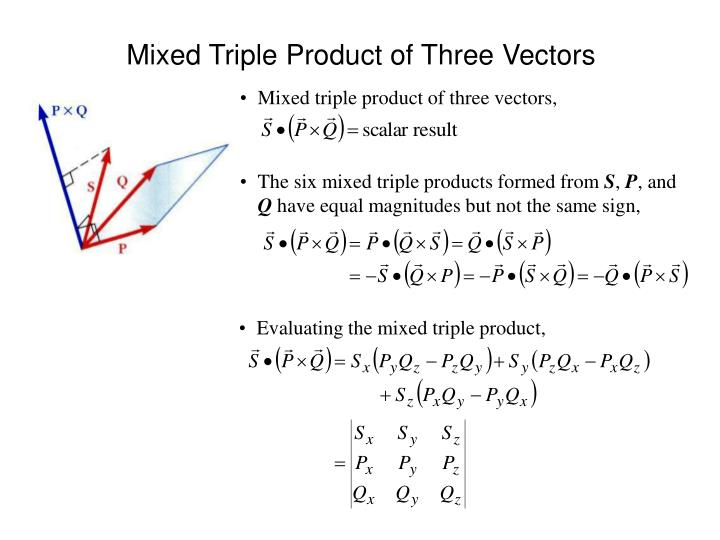 Mixed triple product of three vectors,