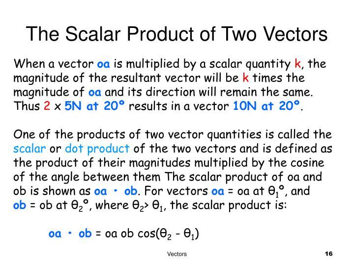 The Scalar Product of Two Vectors