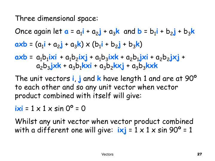 Three dimensional space: