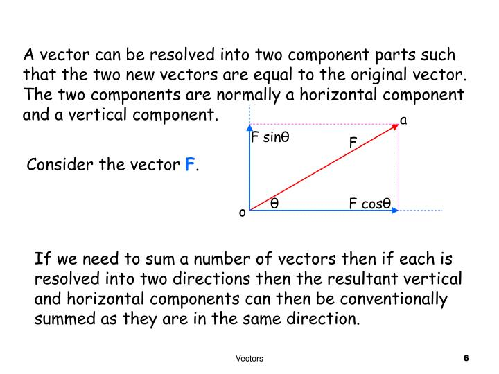A vector can be resolved into two component parts such that the two new vectors are equal to the original vector. The two components are normally a horizontal component and a vertical component.