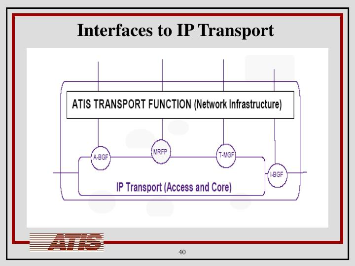 Interfaces to IP Transport