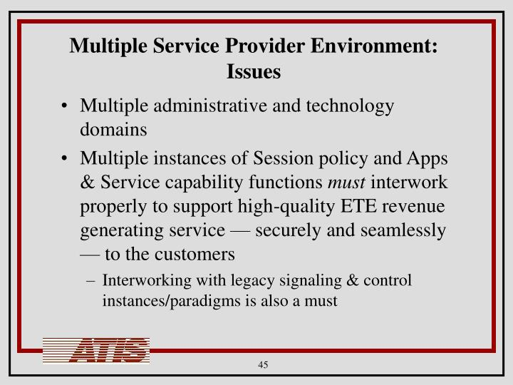 Multiple Service Provider Environment: Issues