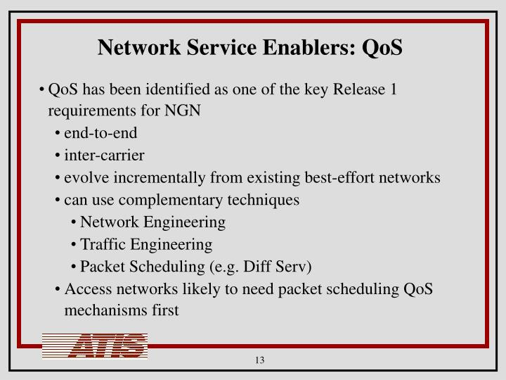 Network Service Enablers: QoS