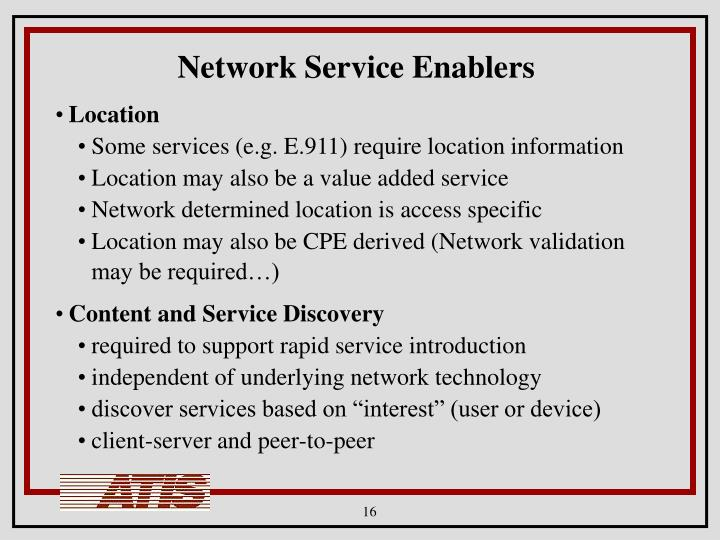 Network Service Enablers