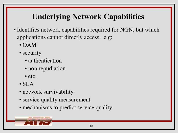 Underlying Network Capabilities