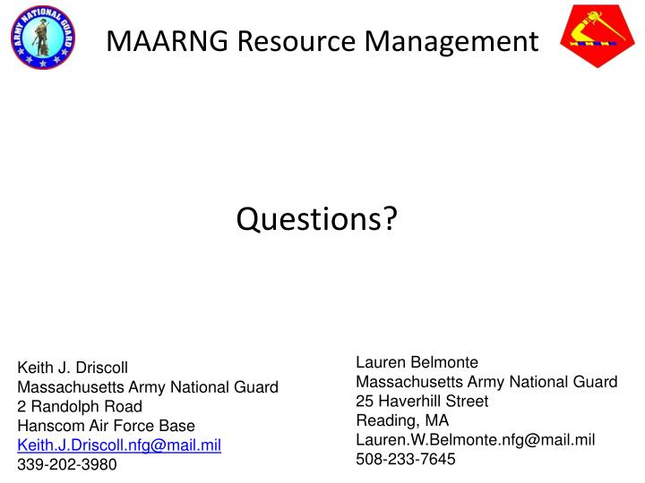 MAARNG Resource Management