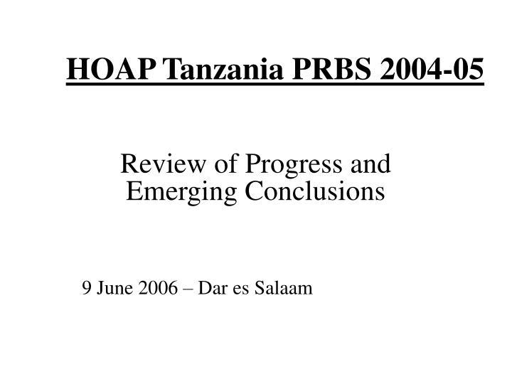 hoap tanzania prbs 2004 05