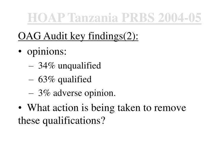 HOAP Tanzania PRBS 2004-05