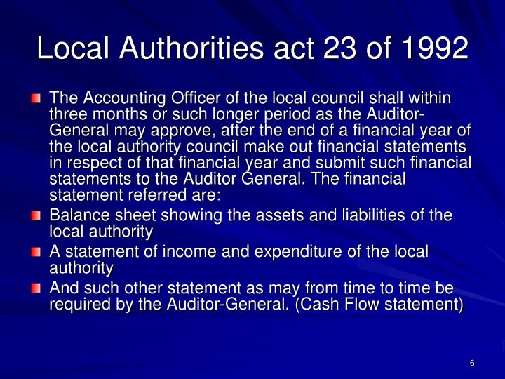 Local Authorities act 23 of 1992