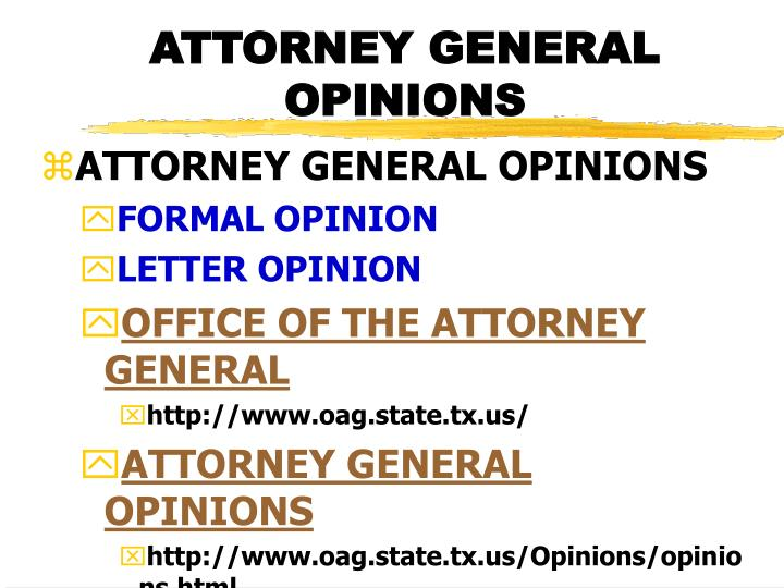 ATTORNEY GENERAL OPINIONS