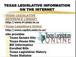 texas legislative information on the internet
