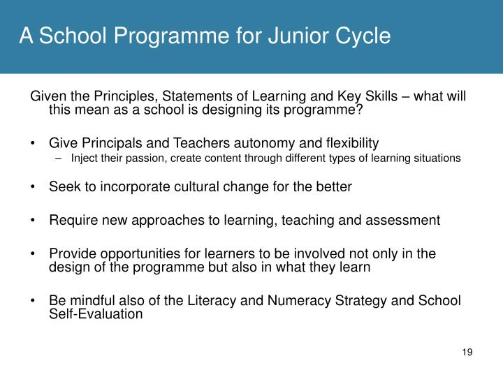 A School Programme for Junior Cycle