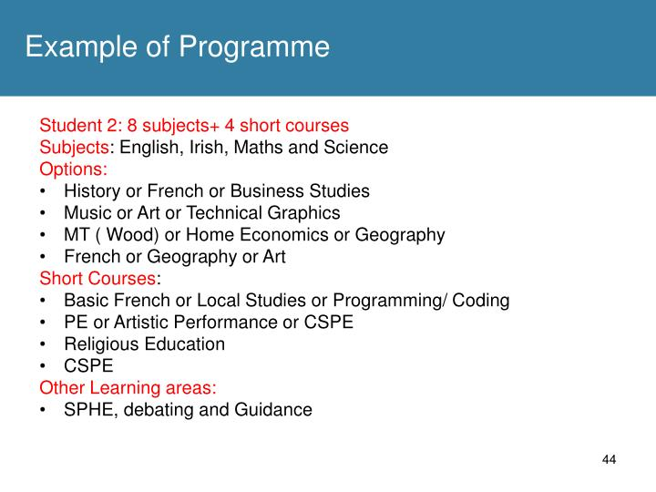 Example of Programme