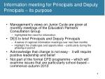 information meeting for principals and deputy principals its purpose