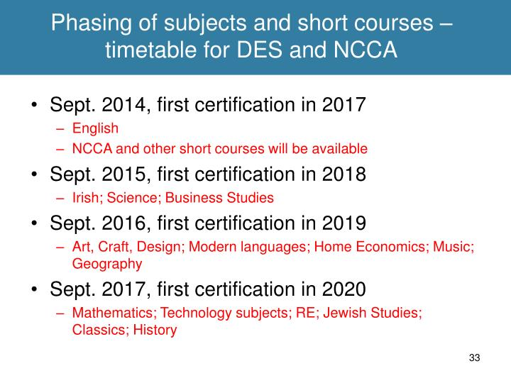Phasing of subjects and short courses – timetable for DES and NCCA