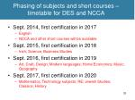 phasing of subjects and short courses timetable for des and ncca