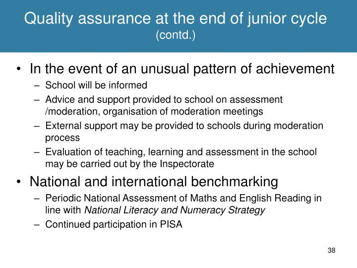 Quality assurance at the end of junior cycle