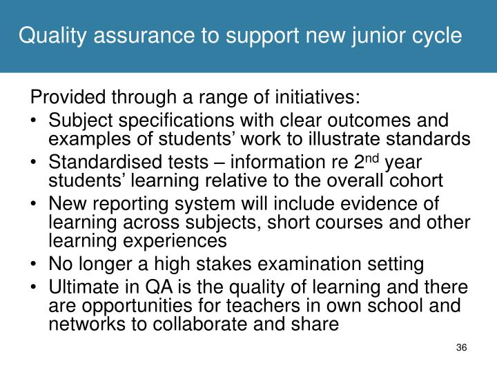 Quality assurance to support new junior cycle