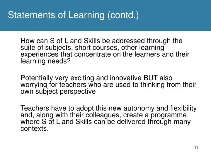 Statements of Learning (contd.)