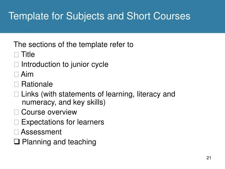 Template for Subjects and Short Courses
