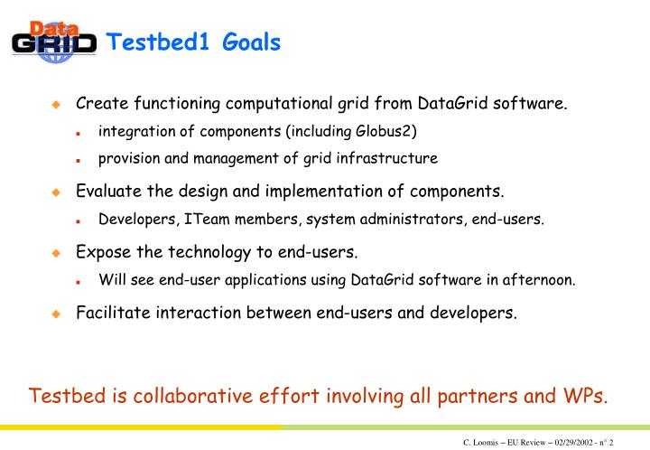 Testbed1 goals